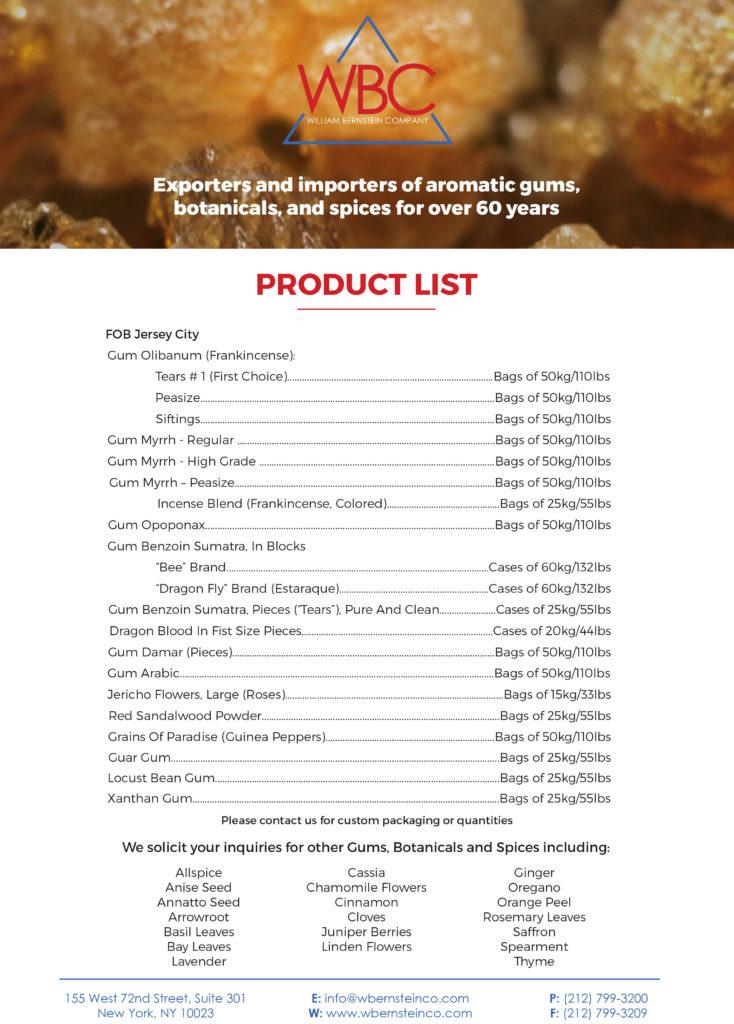 Product List - William Bernstein Company